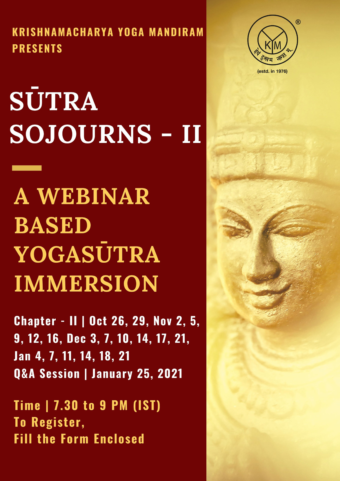Webinar based immersion into the Yogasūtra | Sūtra Sojourns – II